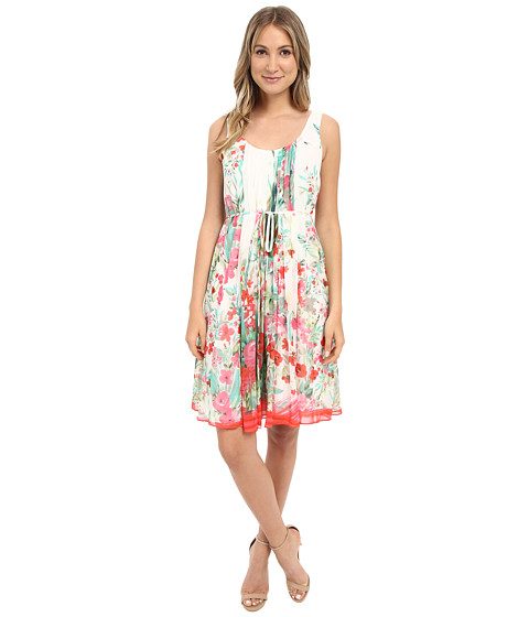 Donna Morgan Sleeveless Pleated Printed Chiffon with Self Belt