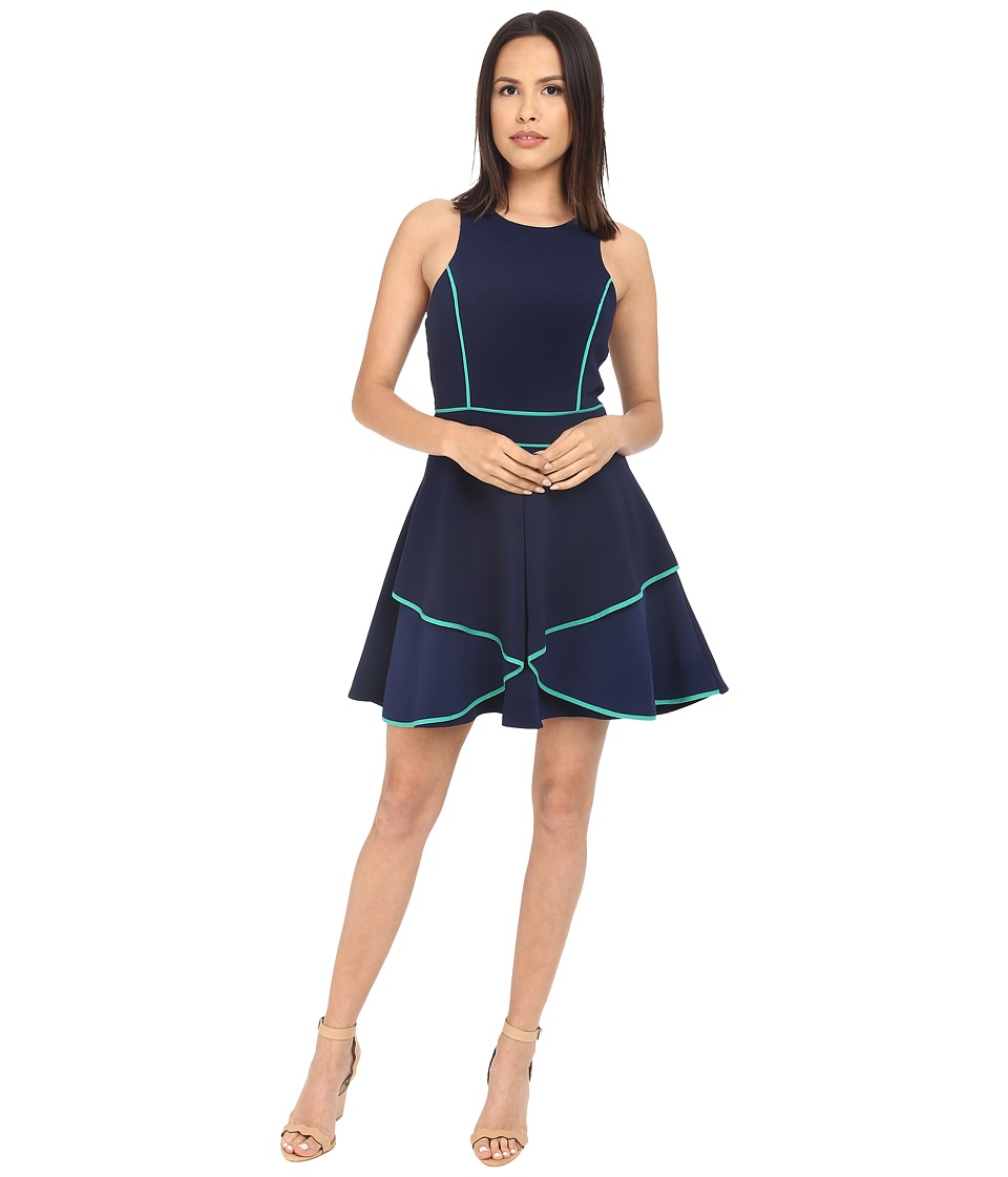 Adelyn Rae Fit and Flare Dress with Contrast Piping Navy Womens Dress