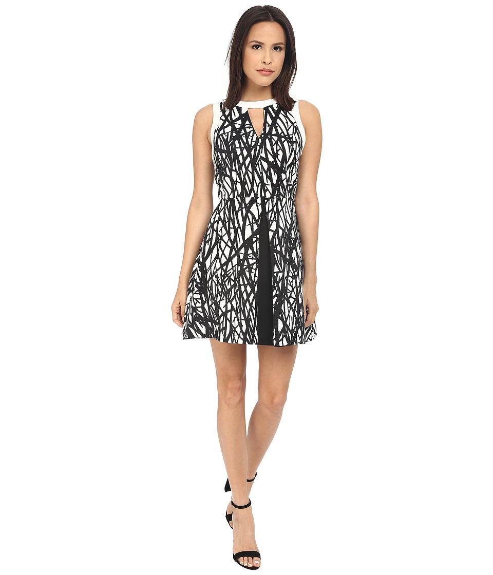 Adelyn Rae Printed with Solid Color Block Fit and Flare Dress Black/Ivory Womens Dress
