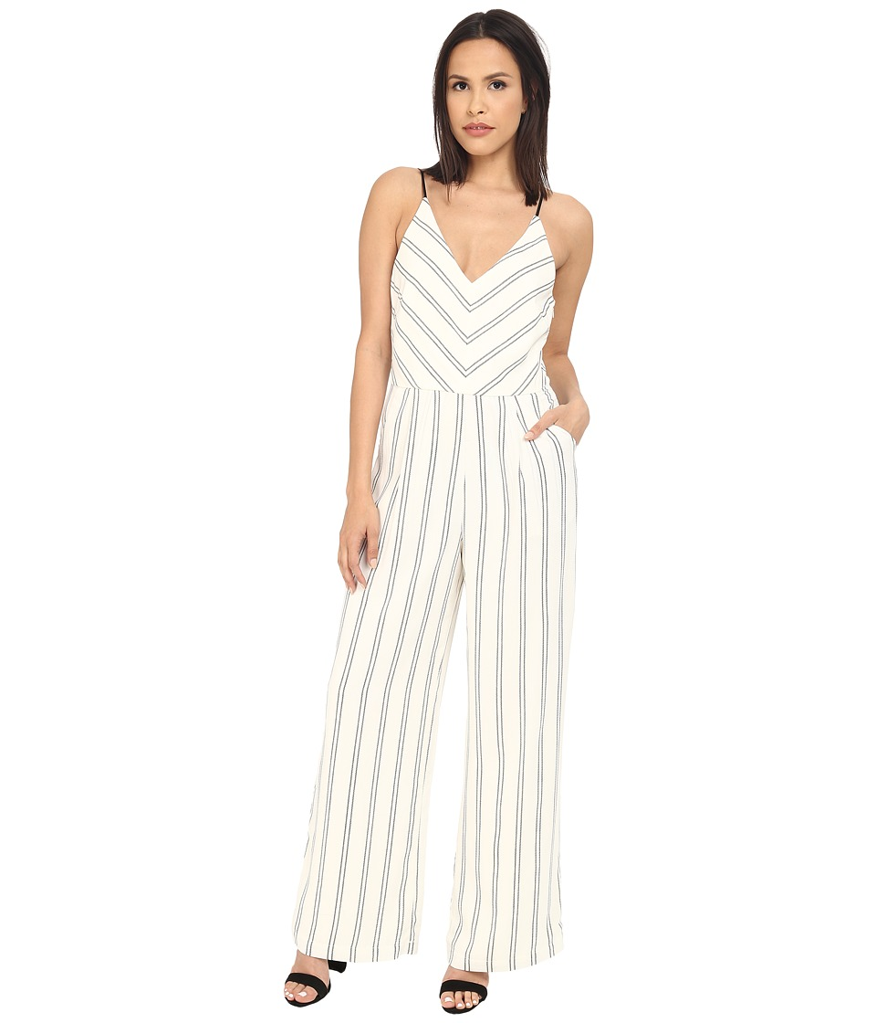 Adelyn Rae Stripe Jumpsuit Ivory/Black Womens Jumpsuit Rompers One Piece