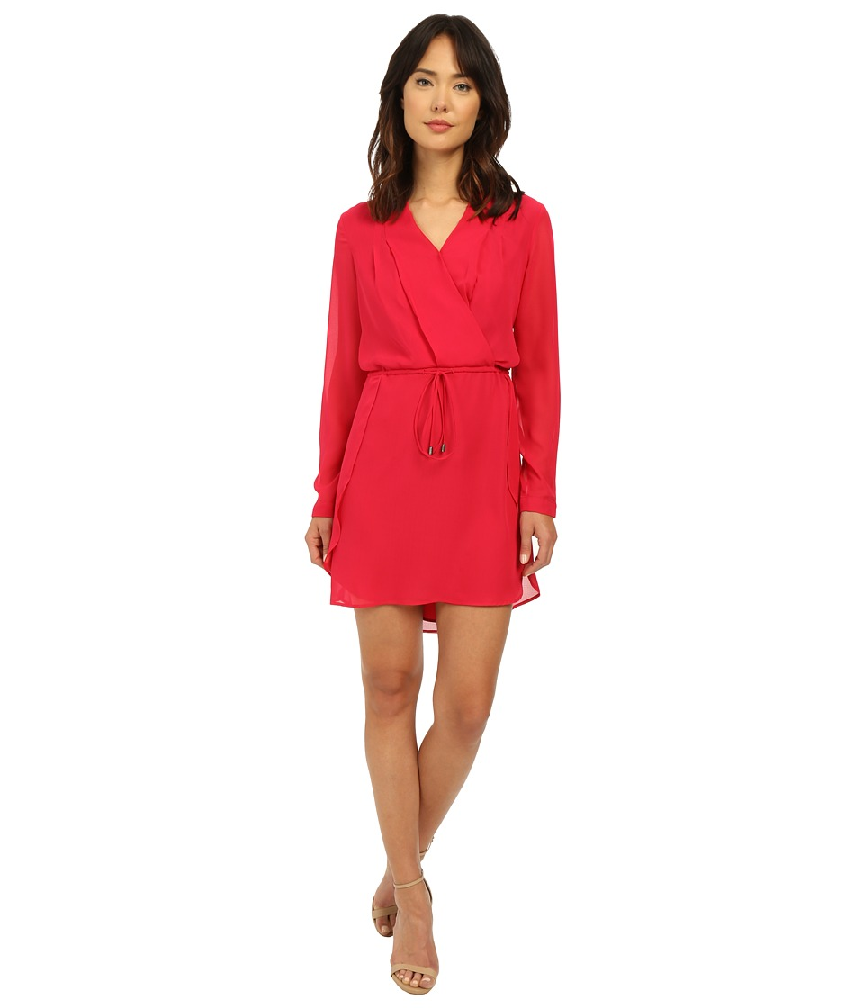 Adelyn Rae Drawstring Waist Shirtdress Deep Pink Womens Dress
