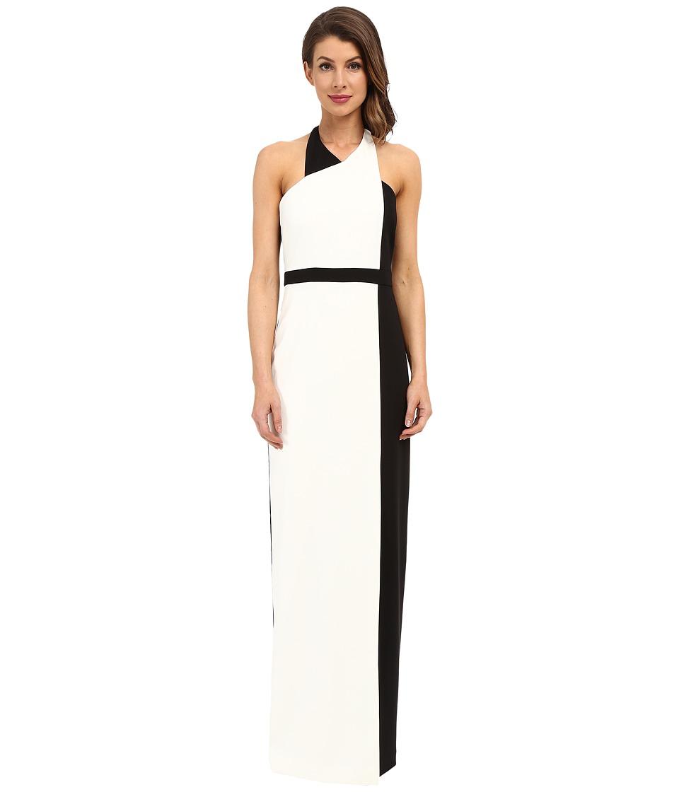Badgley Mischka Color Block Gown with Belt Black Light Womens Dress