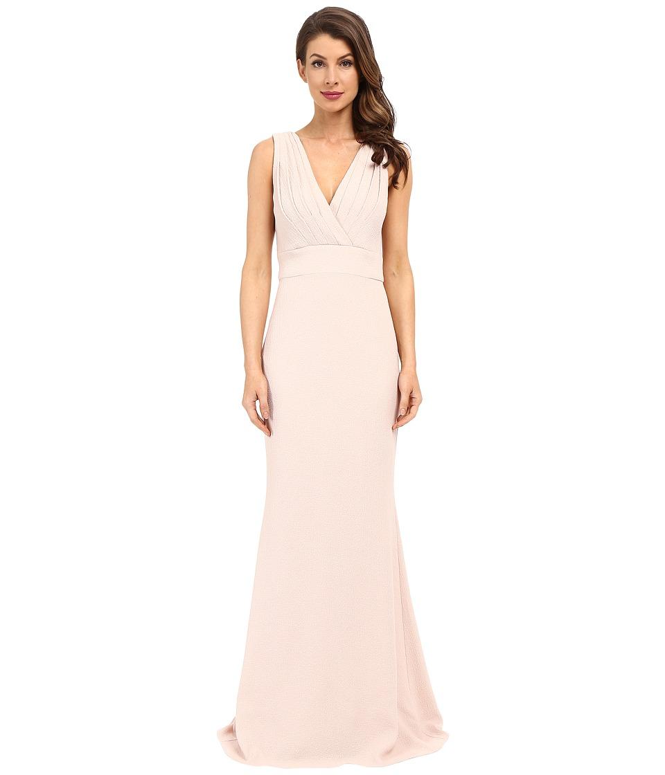 Badgley Mischka Foil Crepe V Neck Dress Coral Womens Dress