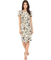 Badgley Mischka - Wrap Shoulder Sheath Print Dress