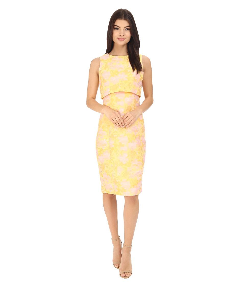Badgley Mischka Floral Jacquard Pop Over Dress Sunflower Multi Womens Dress