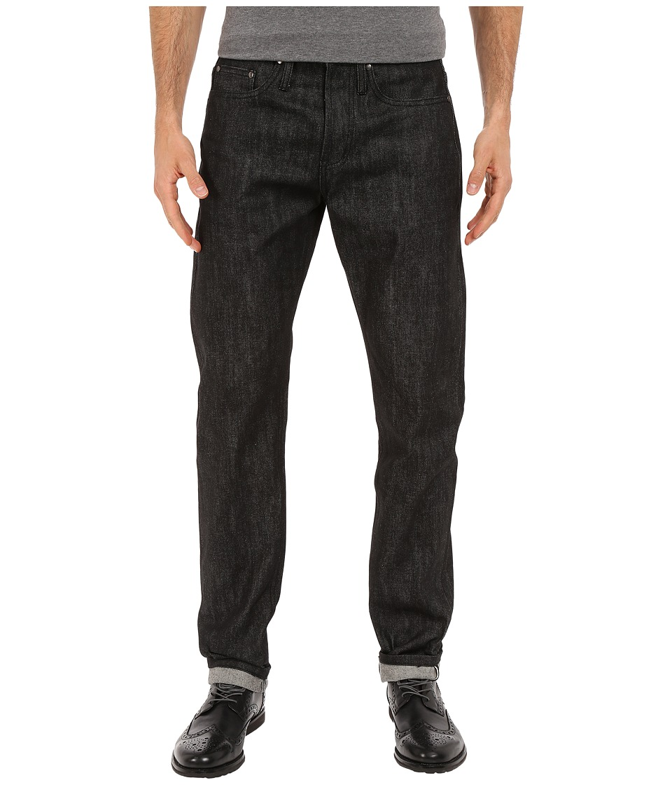 The Unbranded Brand Tapered Jeans in Black Selvedge Black Selvedge Mens Jeans