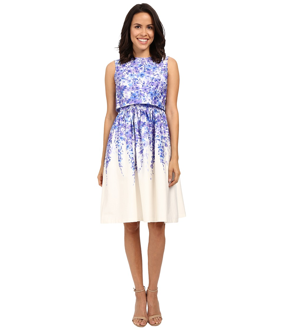 Donna Morgan Cotton Sateen Popover with Midi Skirt Blue Cannister Multi Womens Dress