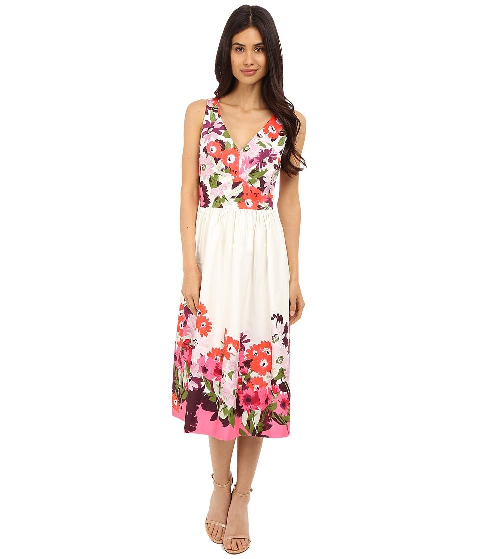 Donna Morgan Sleeveless Cotton Sateen V Neck Midi Length Dress Tobaggan Multi Womens Dress