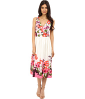 Donna Morgan - Sleeveless Cotton Sateen V-Neck Midi Length Dress