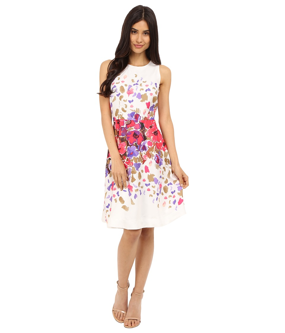 Donna Morgan Sleeveless Twill Fit and Flare with Floral Print and Full Skirt Rasberry Multi Womens Dress