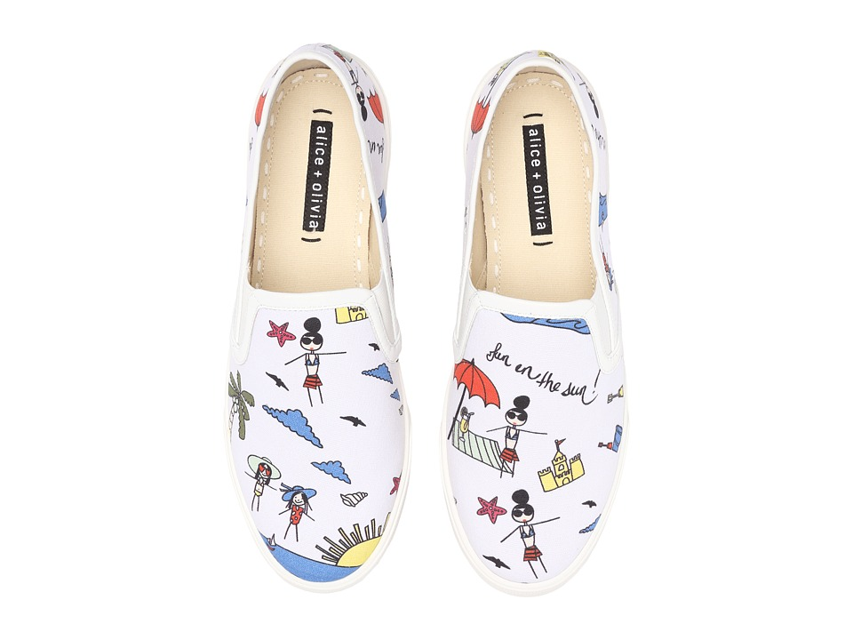 Alice Olivia Ava White Fun In The Sun Multi Print Canvas Womens Shoes
