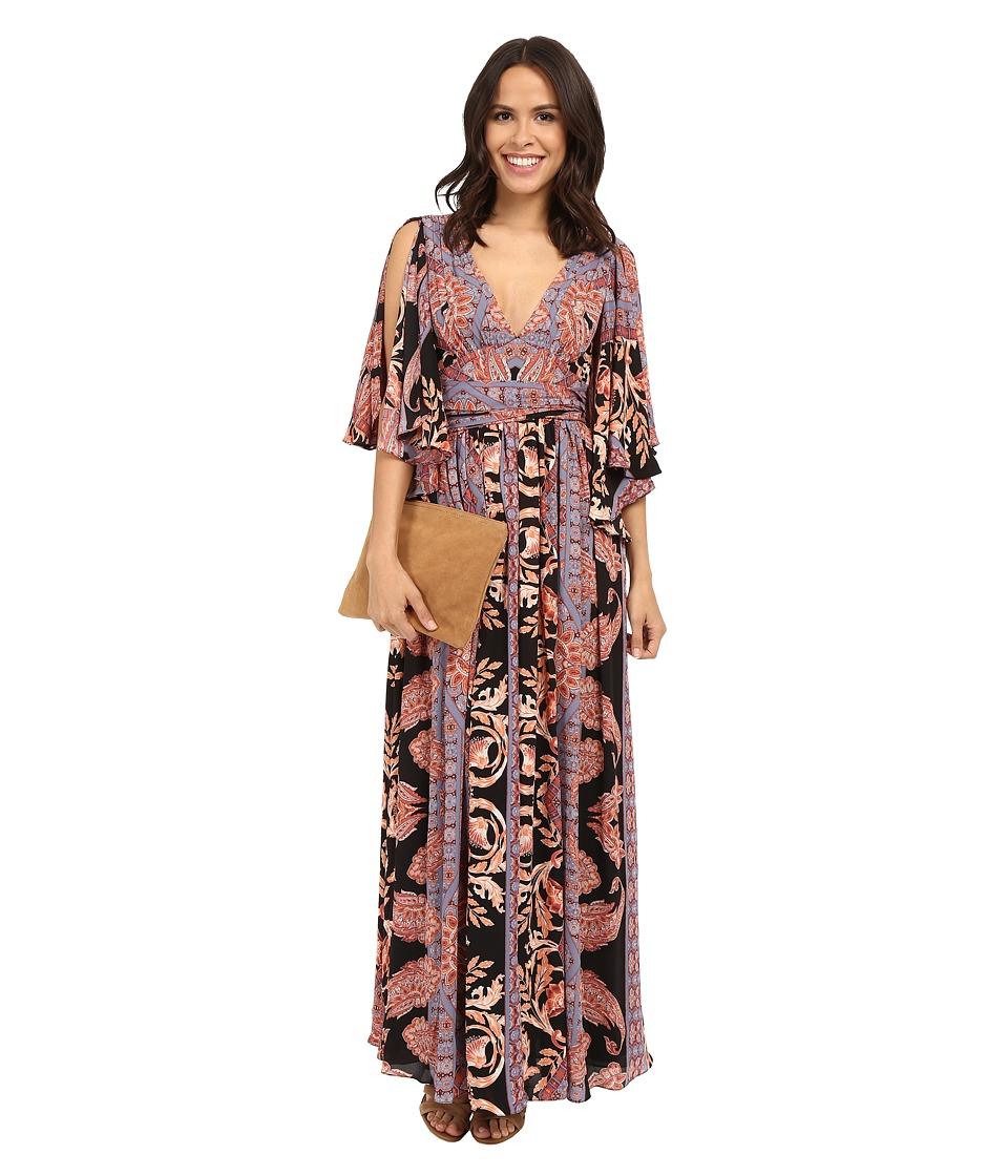 Free People Printed Fern Maxi Dress Black Combo Womens Dress