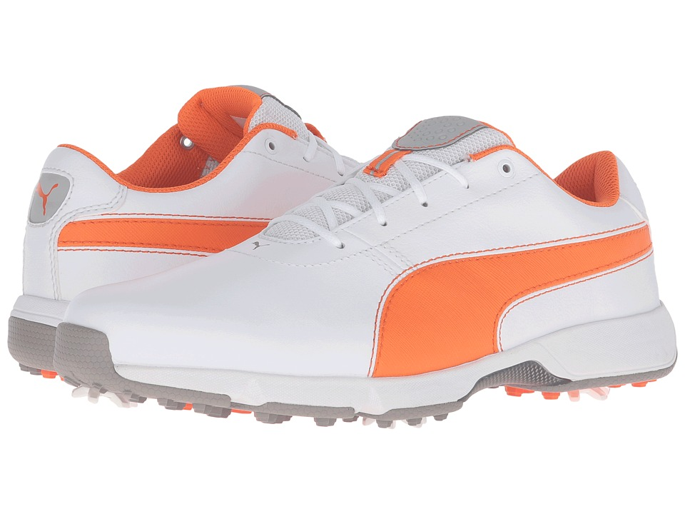 PUMA Golf Ignite Drive (White/Vibrant Orange/Drizzle) Men