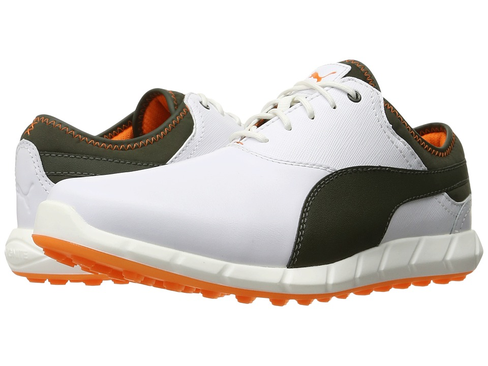 PUMA Golf - Ignite Golf (White/Forest Night/Vibrant Orange) Men