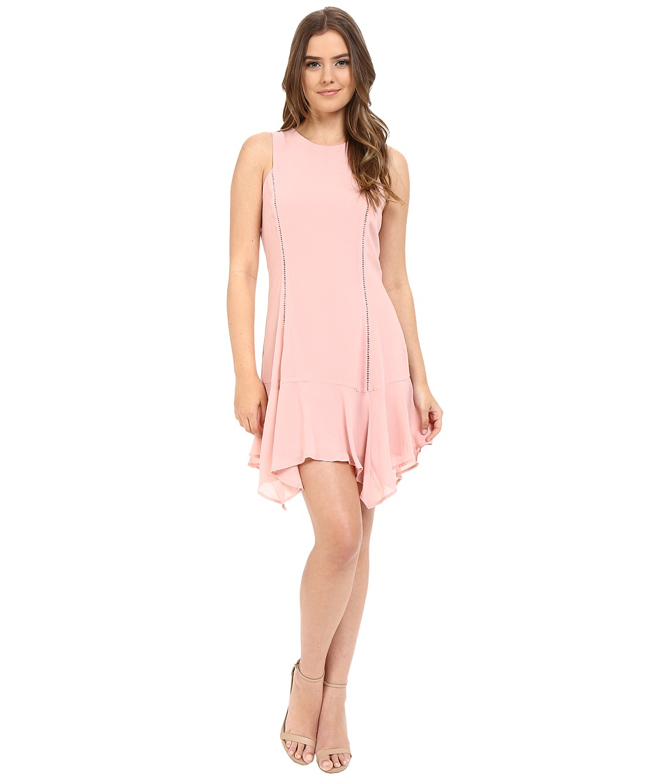 Adelyn Rae Handkerchief Hem Sleeveless Dress Light Pink Womens Dress
