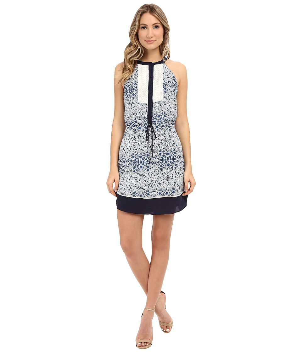 Adelyn Rae Drawstring Printed Dress w/ Contrast Lace Blue Womens Dress
