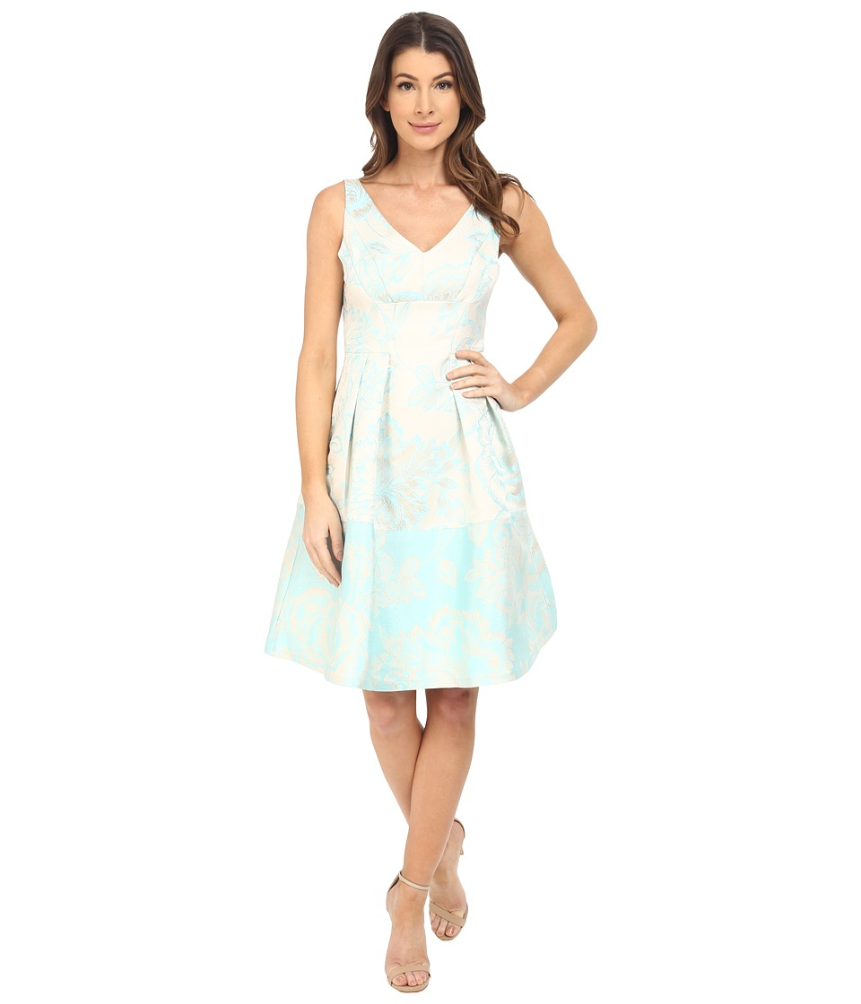 Maggy London Leafy Floral Brocade Fit and Flare Dress Aqua Womens Dress