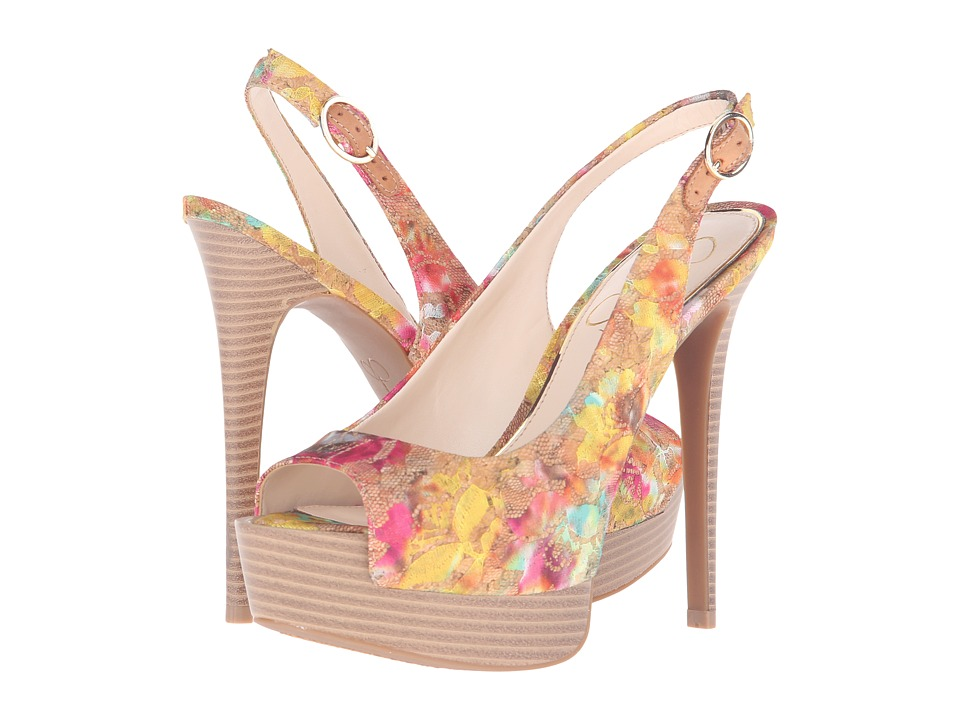 Jessica Simpson Kane Natural Multi/Cork Multi Floral Lace Overlay Womens Shoes