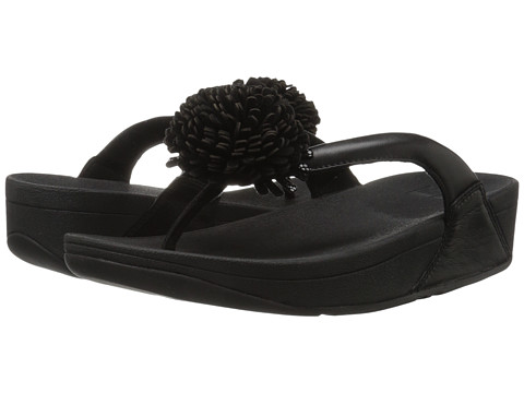 FitFlop Flowerball Leather Toe Post - Black