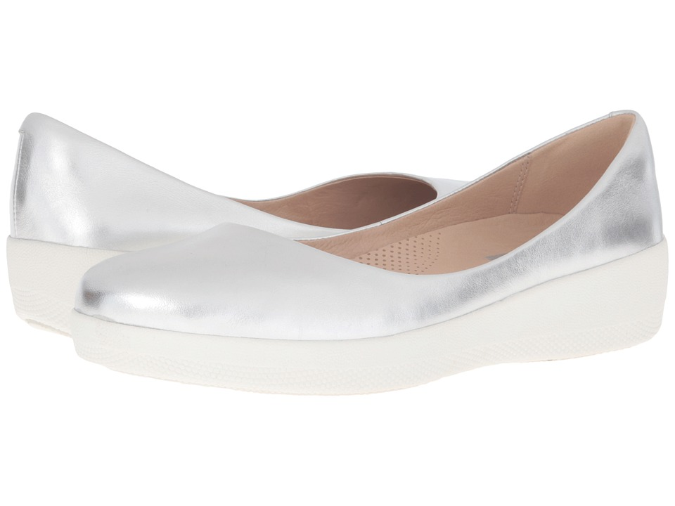 FitFlop Leather Superballerina (Silver) Women