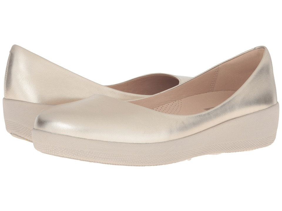 FitFlop Leather Superballerina (Pale Gold) Women