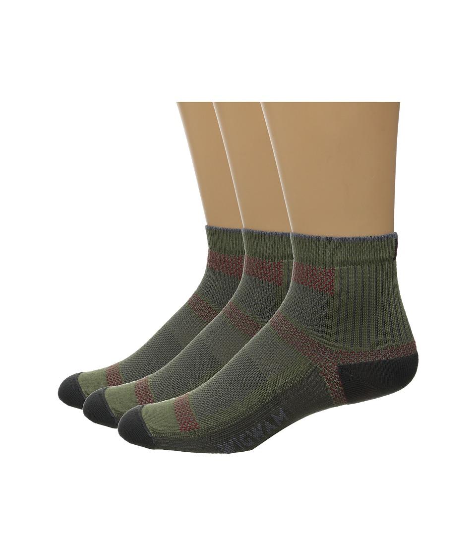 Wigwam Ultra Cool Lite Quarter 3 Pack Moss Quarter Length Socks Shoes