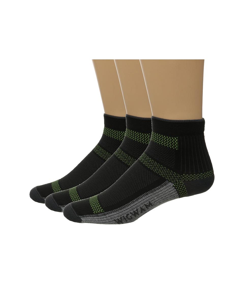 Wigwam Ultra Cool Lite Quarter 3 Pack Black Quarter Length Socks Shoes