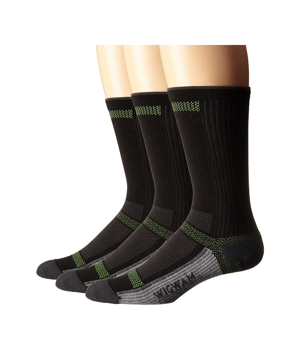 Wigwam Ultra Cool Lite Crew 3 Pack Black Crew Cut Socks Shoes