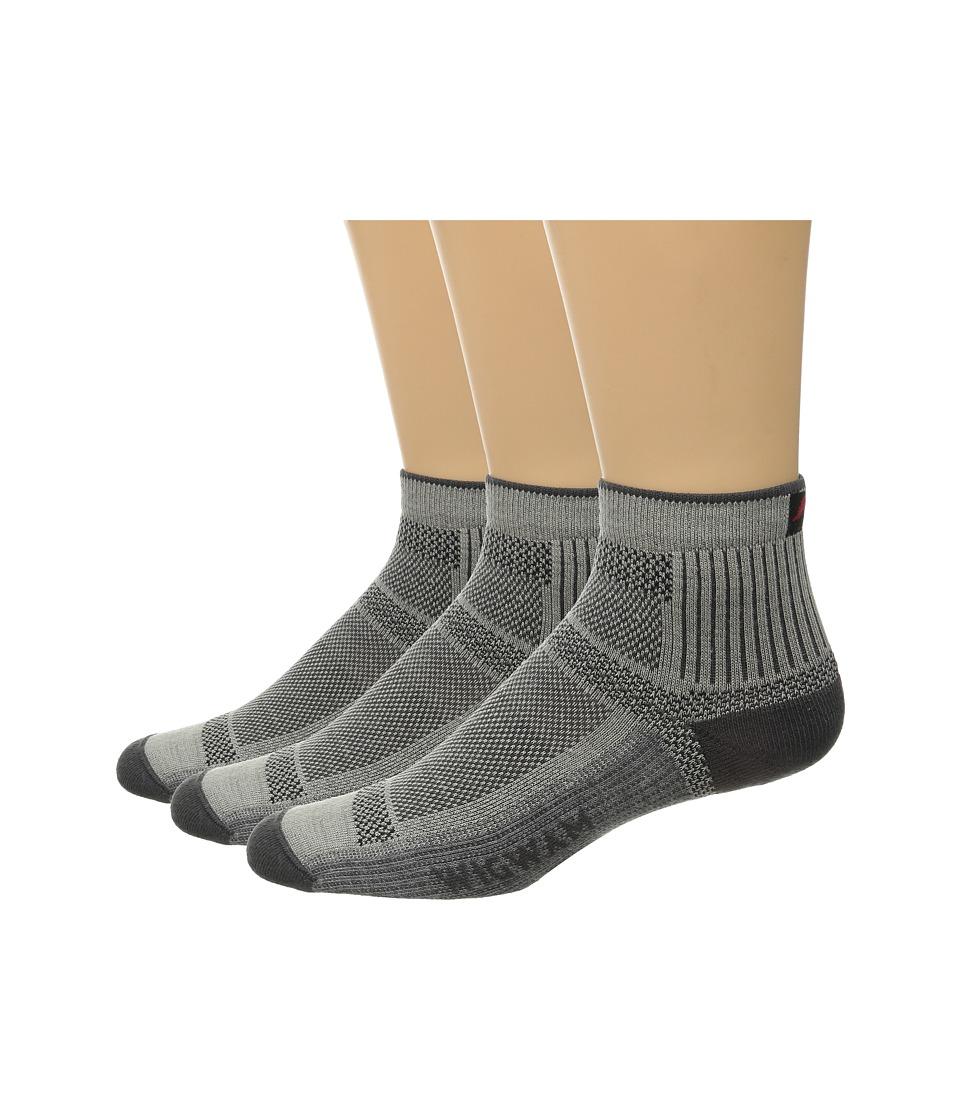 Wigwam Ultra Cool Lite Quarter 3 Pack Grey Quarter Length Socks Shoes