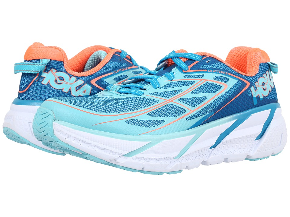 Hoka One One Clifton 3 (Blue Jewel/Neon Coral) Women