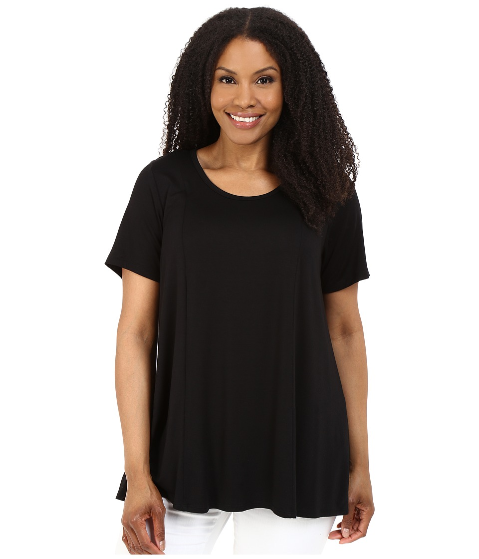 Karen Kane Plus - Plus Size Keyhole-Back Swing Tee (Black) Women