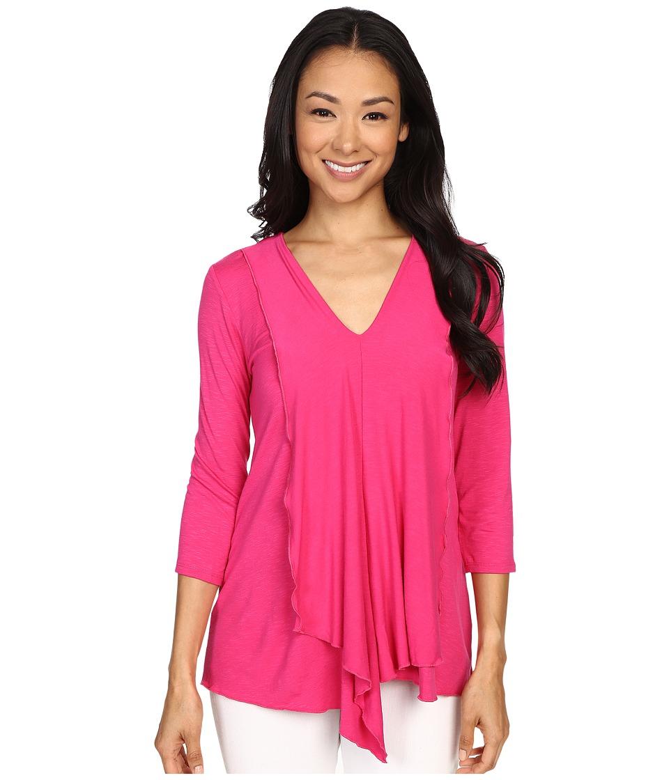 Miraclebody Jeans Cerise Asymmetric Top w/ Body Shaping Inner Shell Fuchsia Womens T Shirt