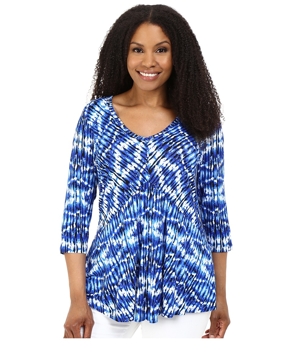 Karen Kane Plus Plus Size 3/4 Sleeve V Neck Top Print Womens Long Sleeve Pullover