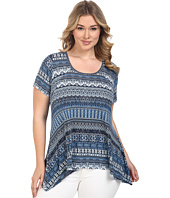 Karen Kane Plus - Plus Size Mosaic Stripe Handkerchief Top
