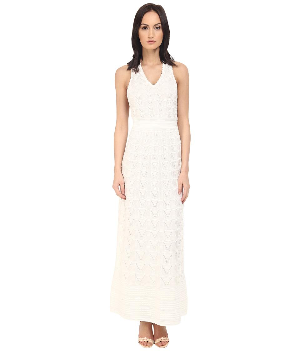 M Missoni Solid V Neck Maxi Dress White Womens Dress