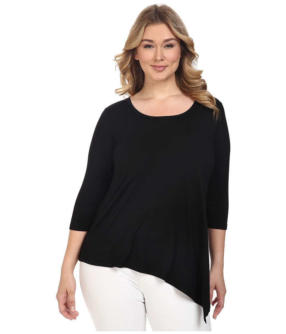 Karen Kane Plus - Plus Size Asymmetrical Hem Tee (Black/Off-White) Women