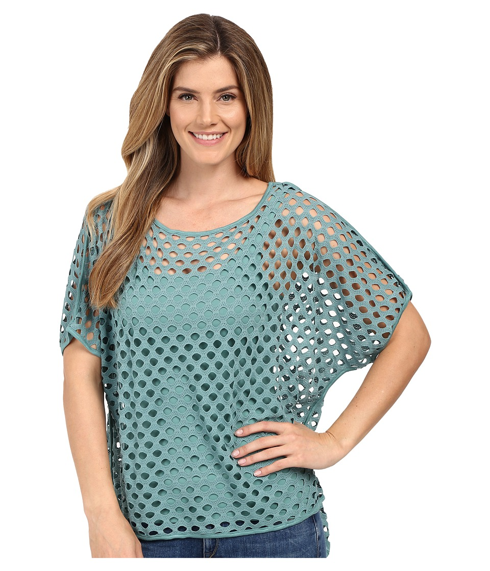Miraclebody Jeans - Fiona Fishnet Hi Lo Tee w/ Body-Shaping Inner Shell (Patina Green) Women