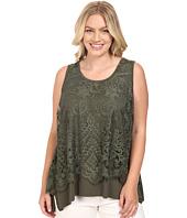 Karen Kane Plus - Plus Size Lace Overlay Handkerchief Tank Top