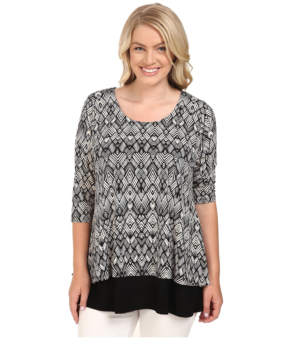 Karen Kane Plus - Plus Size Split-Back Top (Print) Women's Short Sleeve Knit plus size,  plus size fashion plus size appare
