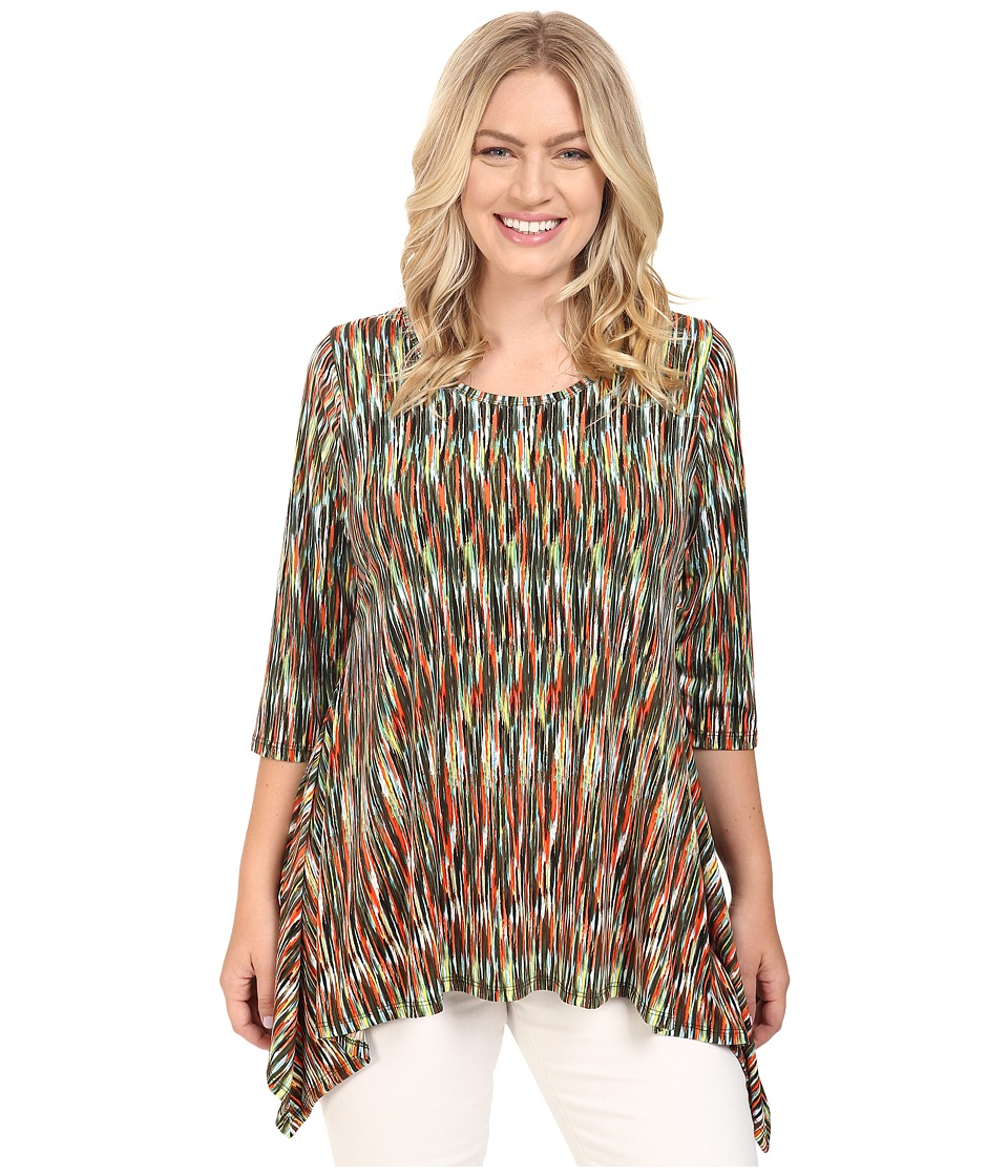 Karen Kane Plus - Plus Size 3/4 Sleeve Handkerchief Top (Print) Women