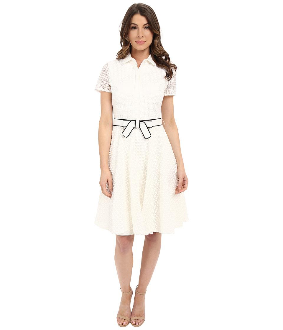 Badgley Mischka Eyelet Combo Shirtdress with Belt White Womens Dress
