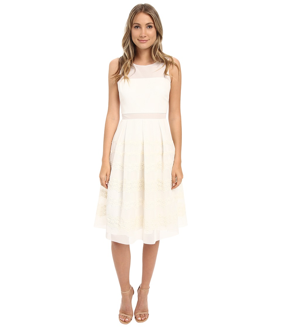 Badgley Mischka Boat Neck Pleated Floral Dress Ivory Womens Dress