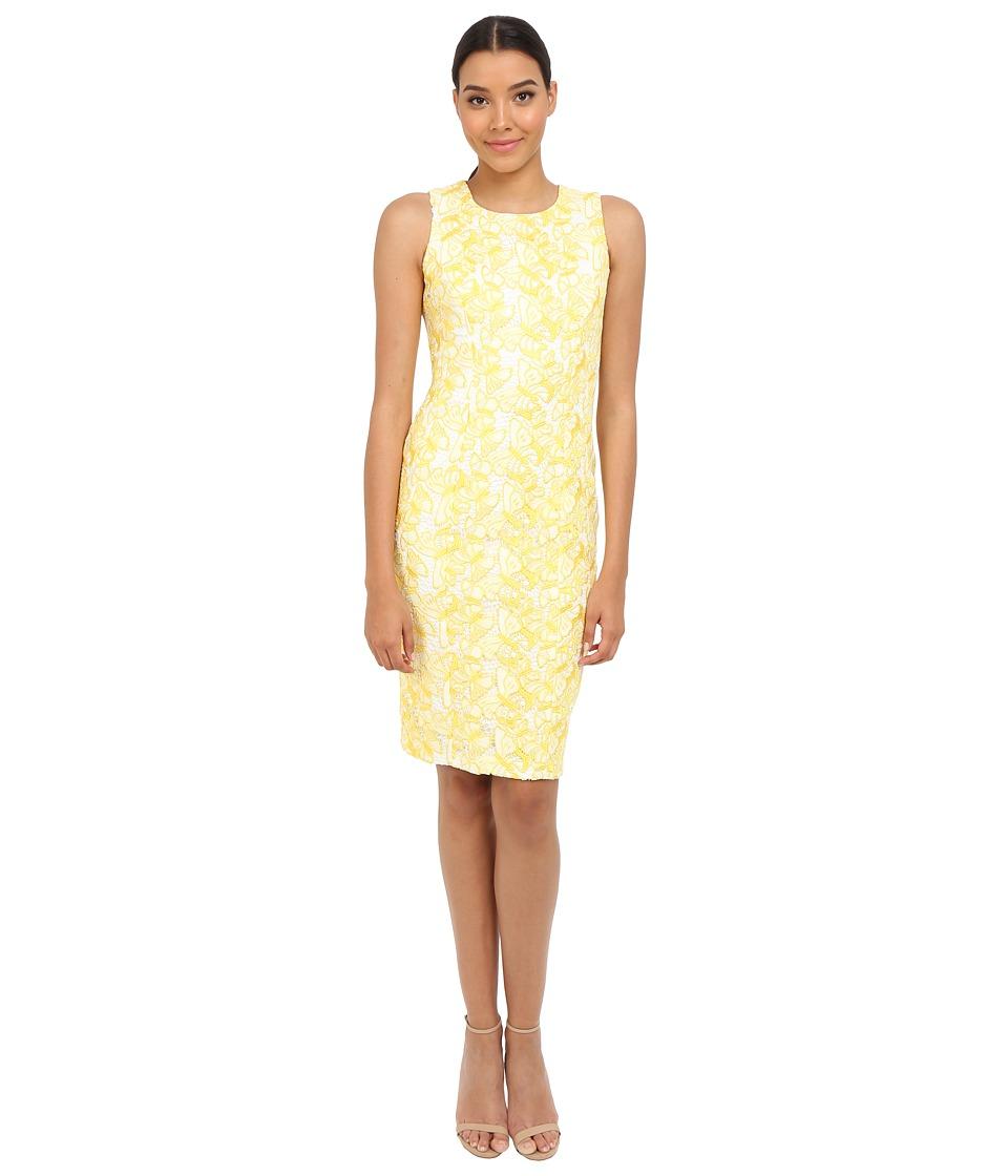 Badgley Mischka Butterfly Lace Sheath Dress Yellow/White Womens Dress