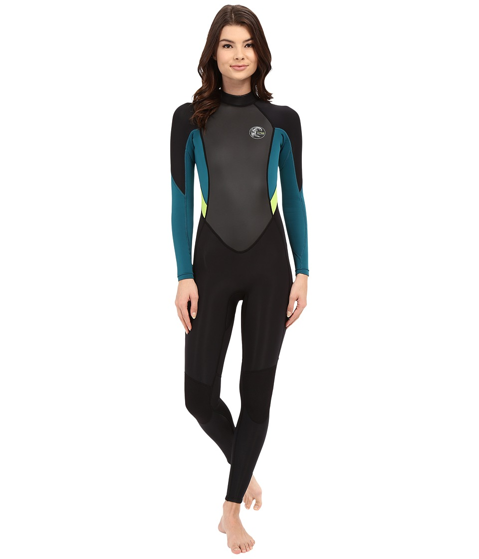 ONeill Bahia FL 3/2 Black/Deep Teal/Lime Womens Wetsuits One Piece