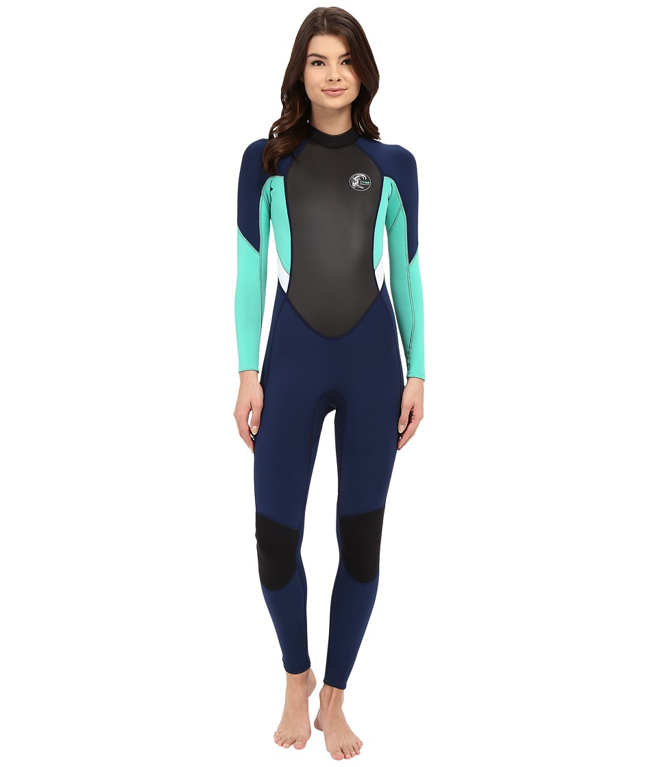 ONeill Bahia FL 3/2 Navy/Seaglass/White Womens Wetsuits One Piece