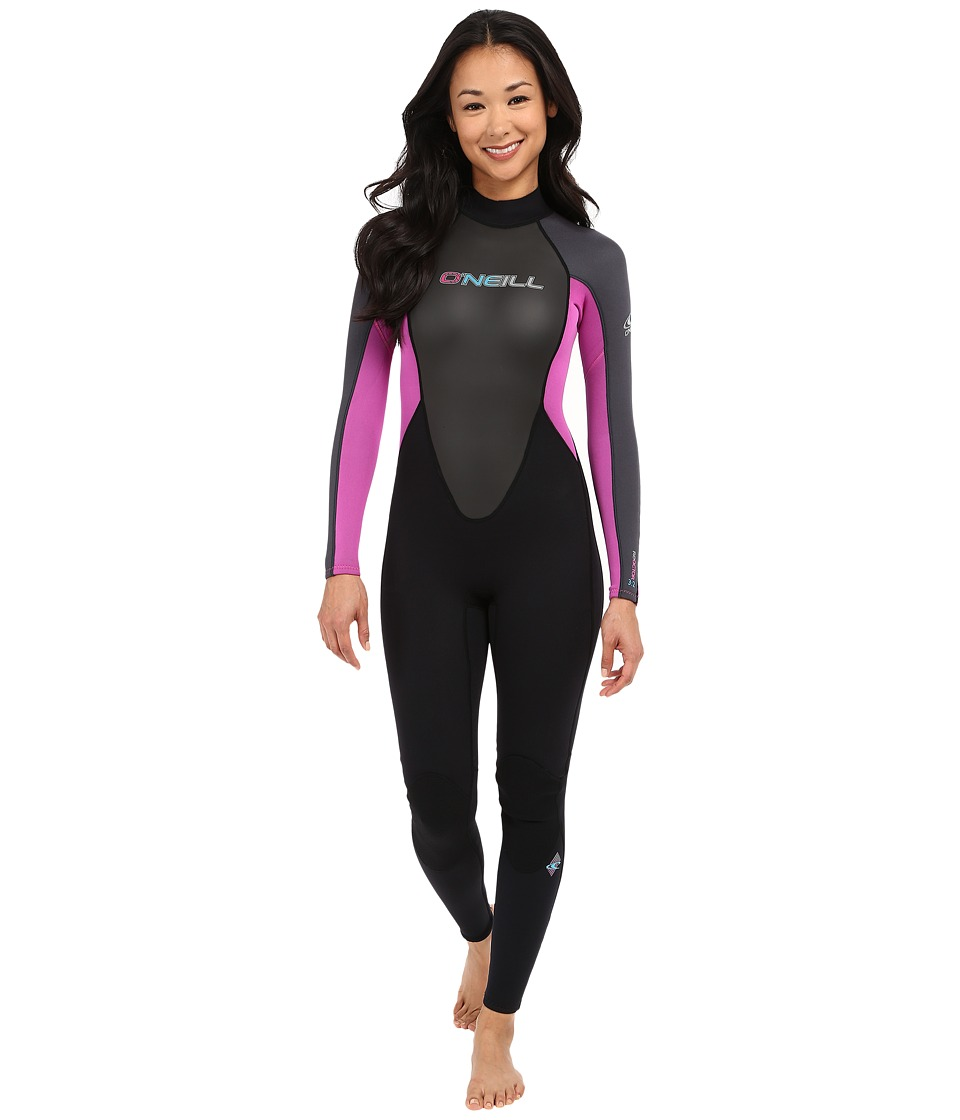 ONeill Reactor 3/2 Full Black/Graphite/Berry Womens Wetsuits One Piece