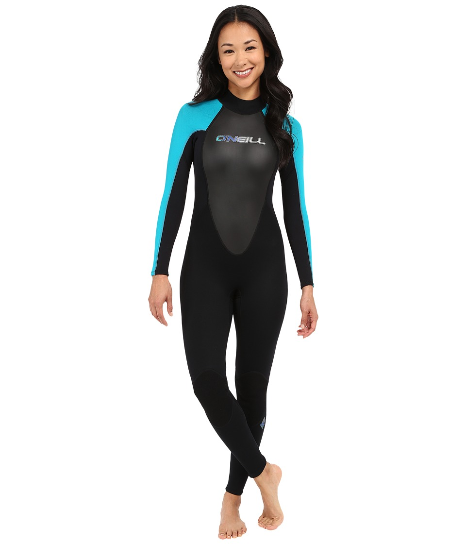 ONeill Reactor 3/2 Full Black/Turquoise/Black Womens Wetsuits One Piece