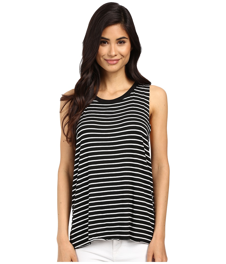Project Social T Anne Claire Stripe Tank Top Black/White Womens Sleeveless