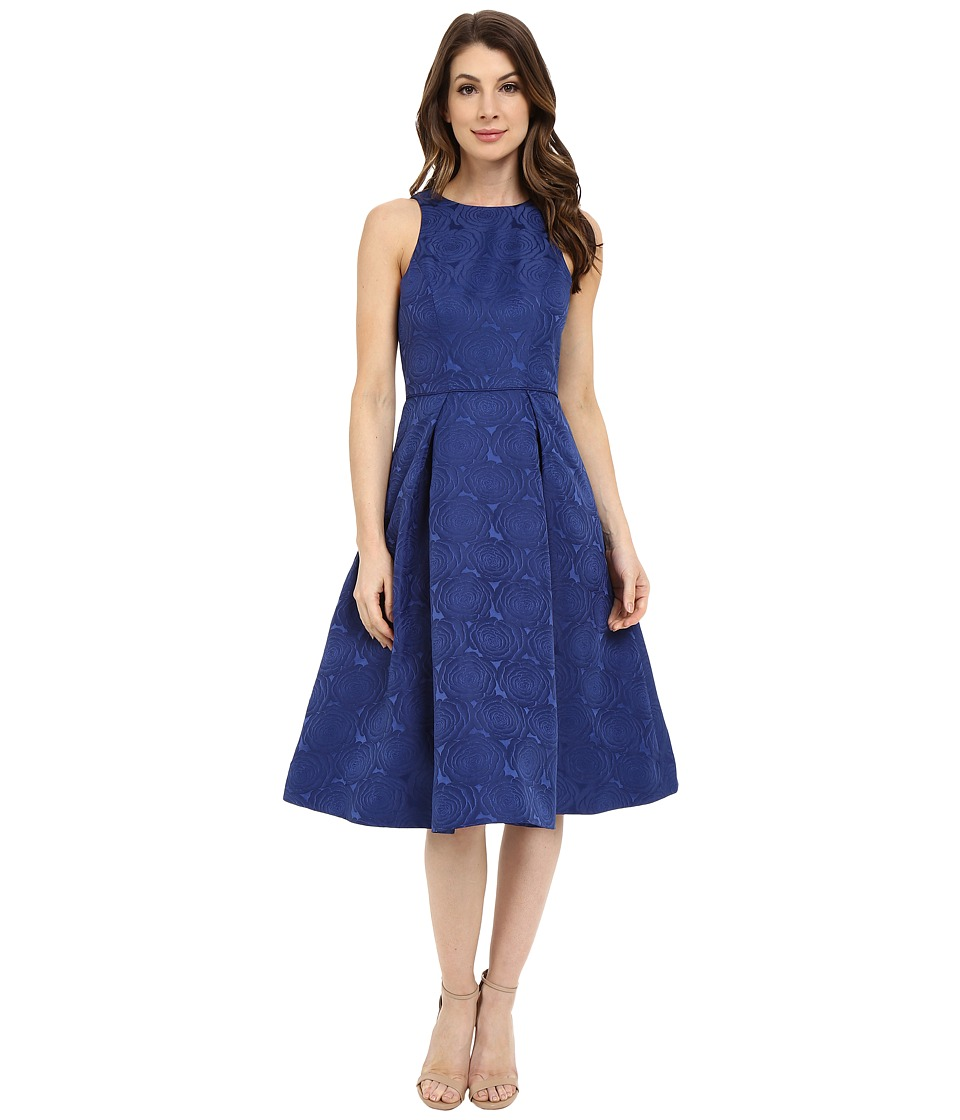 Maggy London Jacquard Satin Rose Fit and Flare Midnight Womens Dress