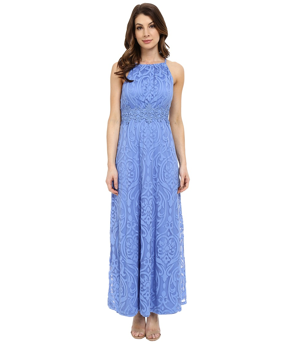 Maggy London Bavarian Burnout Scroll Maxi Periwinkle Womens Dress